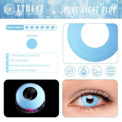 TTDeye Pure Light Blue Colored Contact Lenses