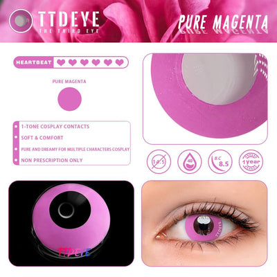 TTDeye Pure Magenta Colored Contact Lenses