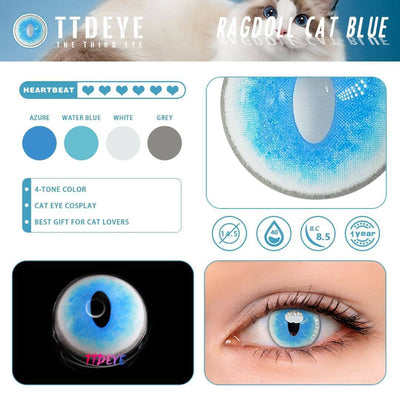 TTDeye Ragdoll Cat Blue Colored Contact Lenses