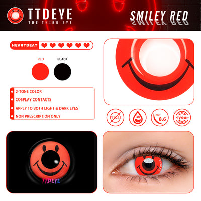 TTDeye Smiley Red Colored Contact Lenses