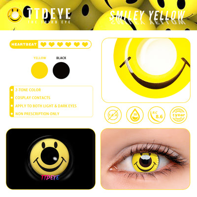 TTDeye Smiley Yellow Colored Contact Lenses