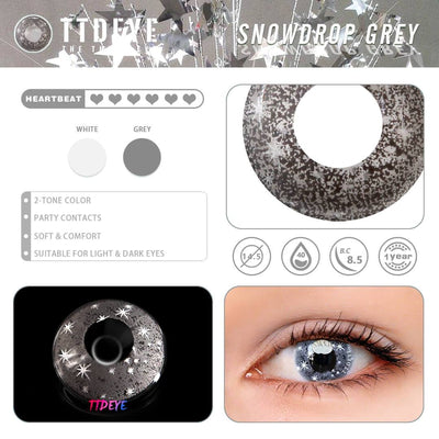 TTDeye Snowdrop Grey Colored Contact Lenses