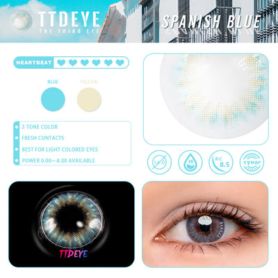 TTDeye Spanish Blue Colored Contact Lenses