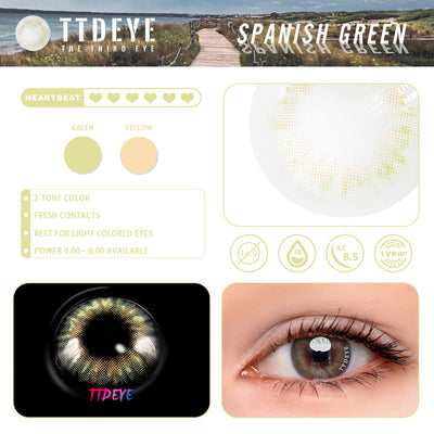 TTDeye Spanish Green Colored Contact Lenses