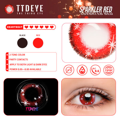 TTDeye Sparkler Red Colored Contact Lenses