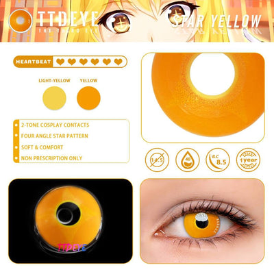 TTDeye Star Yellow Colored Contact Lenses