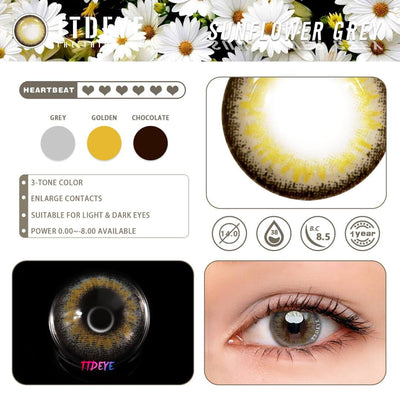 TTDeye Sunflower Grey Colored Contact Lenses