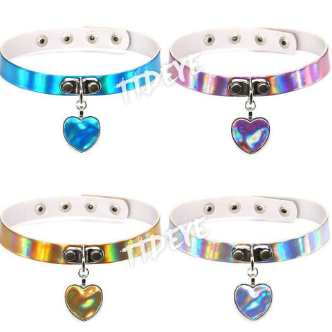 Rainbow Laser Heart Choker Collar