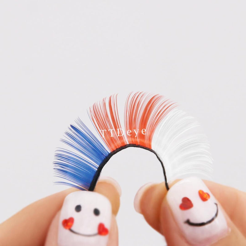TTDeye Red-Blue-White False Eyelashes