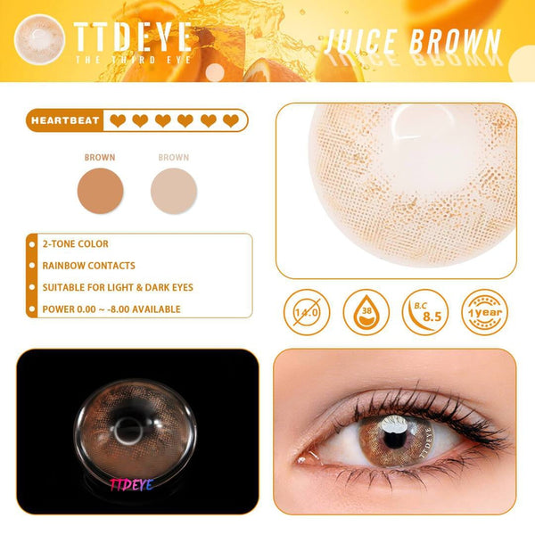TTDeye Juice Brown Colored Contact Lenses