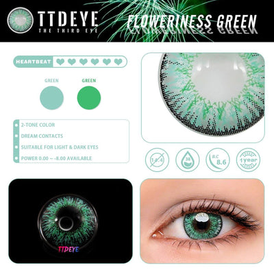 TTDeye Floweriness Green Colored Contact Lenses