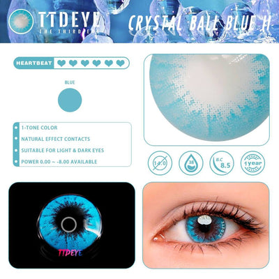 TTDeye Crystal Ball Blue II Colored Contact Lenses