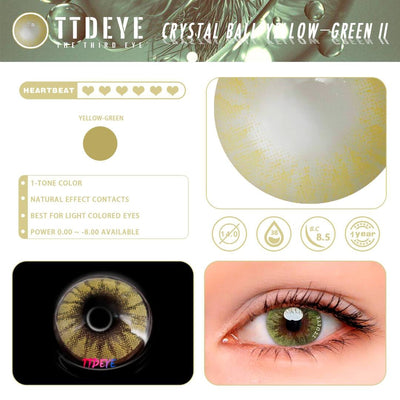 TTDeye Crystal Ball Yellow-Green II Colored Contact Lenses