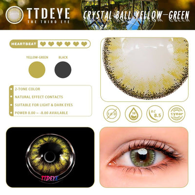 TTDeye Crystal Ball Yellow-Green Colored Contact Lenses