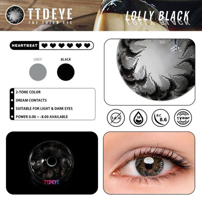 TTDeye Lolly Black Colored Contact Lenses