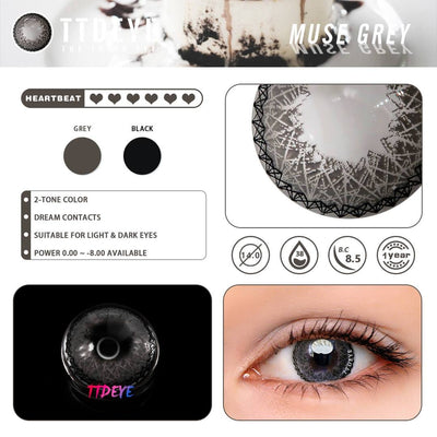 TTDeye Muse Grey Colored Contact Lenses