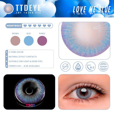 TTDeye Love Me Blue Colored Contact Lenses