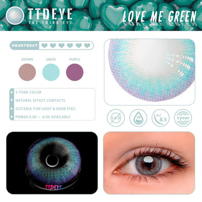TTDeye Love Me Green Colored Contact Lenses