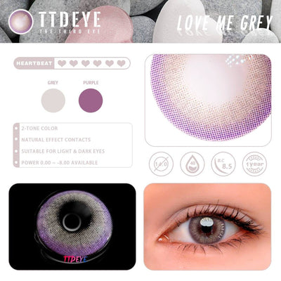 TTDeye Love Me Grey Colored Contact Lenses