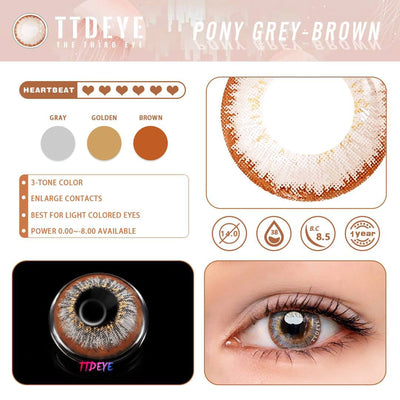 TTDeye Pony Grey-Brown Colored Contact Lenses