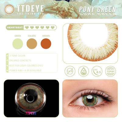 TTDeye Pony Green Colored Contact Lenses
