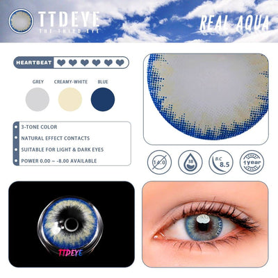 TTDeye Real Aqua Colored Contact Lenses