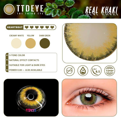 TTDeye Real Khaki Colored Contact Lenses