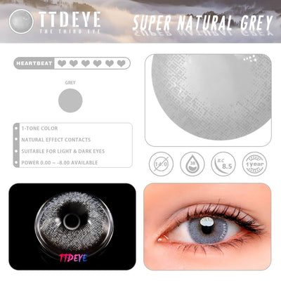 TTDeye Super Natural Grey Colored Contact Lenses