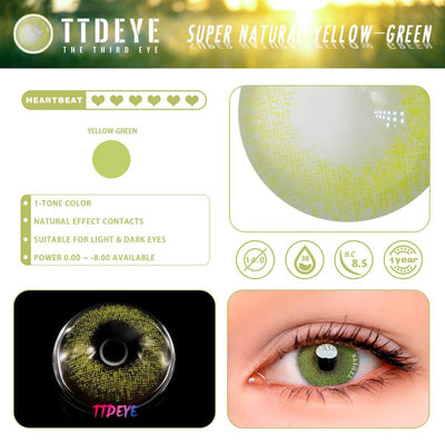 TTDeye Super Natural Yellow-Green Colored Contact Lenses