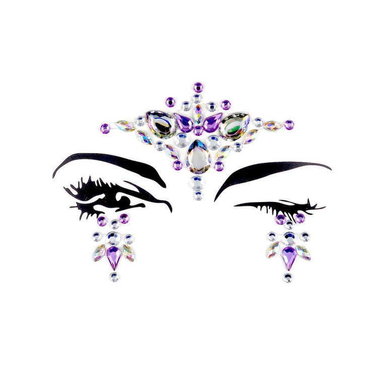 Purple Mermaid Rhinestone Crystal Face Jewels