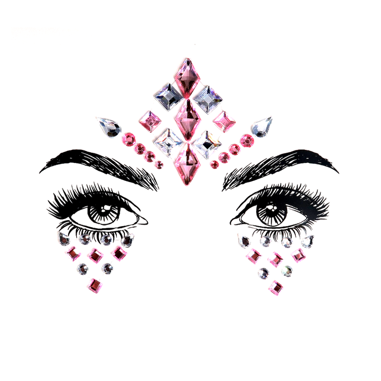 Pinky Rhinestone Crystal Face Jewels