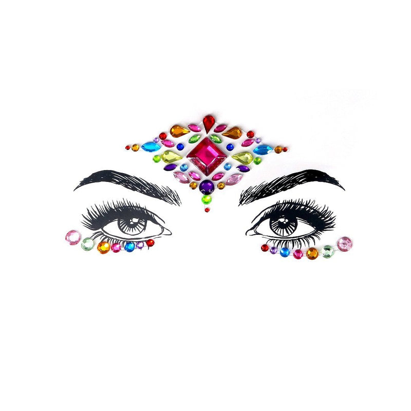 Rainbow Crane Rhinestone Crystal Face Jewels