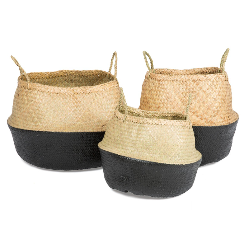 LARGE SEAGRASS BELLY BASKET BLACK