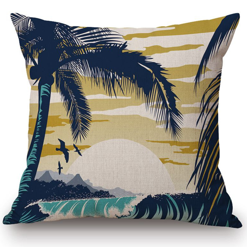 45X45CM SURF BREAK LINEN CUSHION