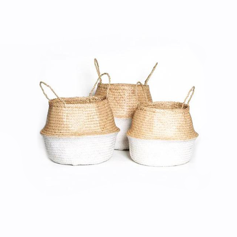 Medium Seagrass Belly Basket - White