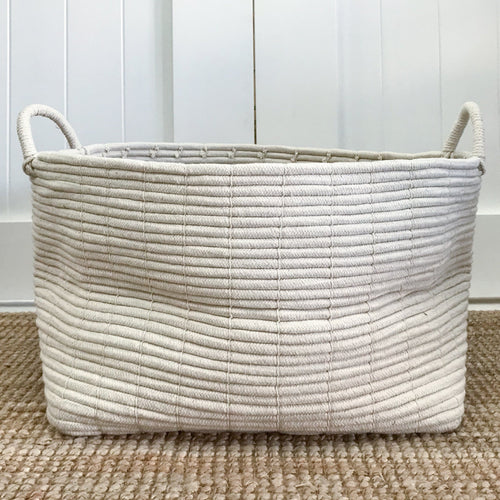 Bailey Tall Rectangular Cotton Rope Basket