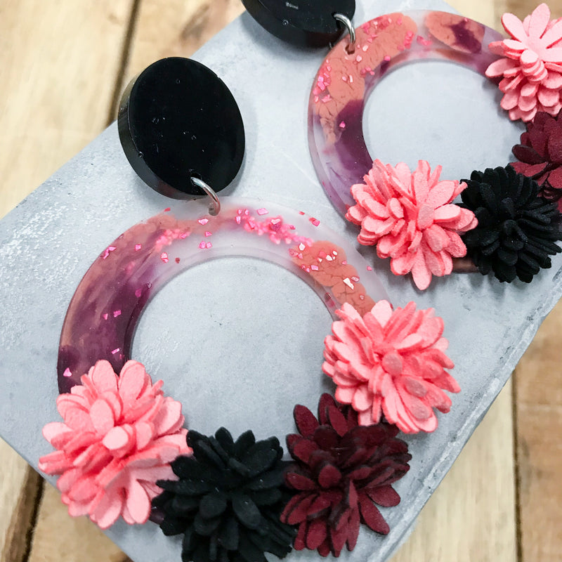 Risus Ring Flora Art Series Earring - Clay+Black