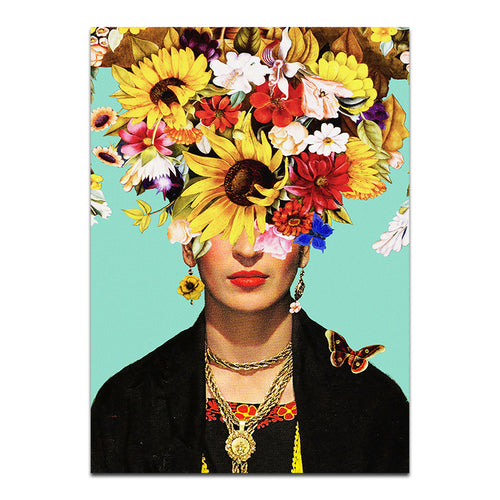 Frida Kahlo Flower Power Canvas Framed Print