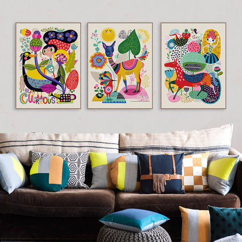 Colourful Abstract Children's Canvas Framed Print