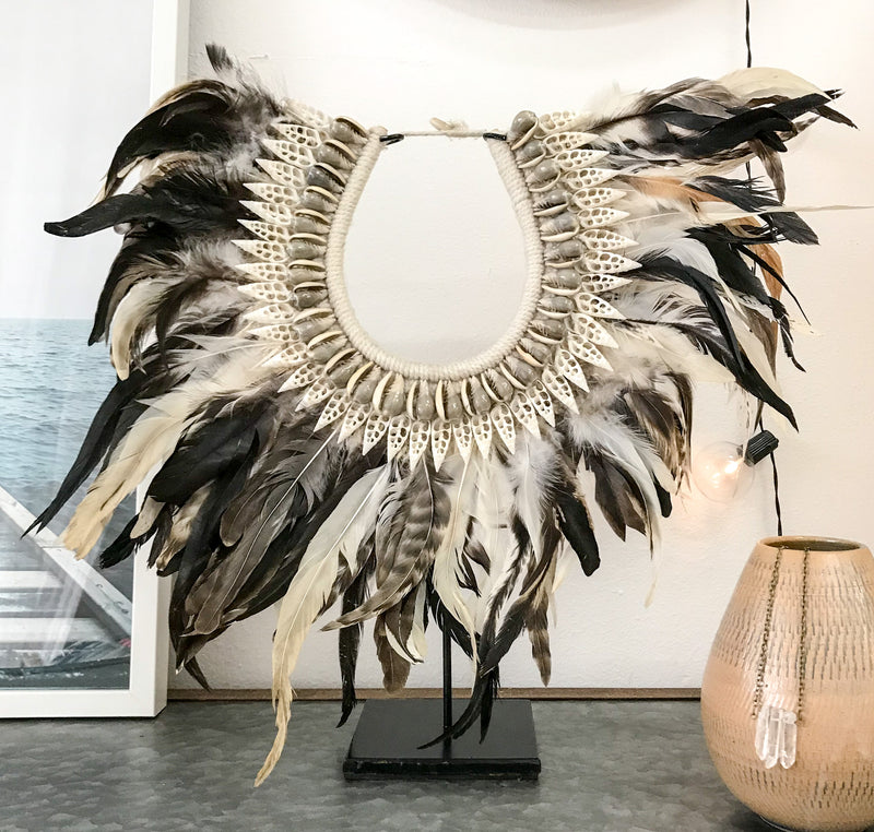 Handmade Tribal Feather Necklace + Stand - Shells