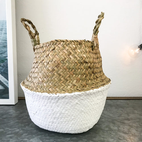 Seagrass Basket White + Natural - Mini
