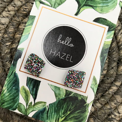 hello Hazel Earrings - Festival Glitter Squares