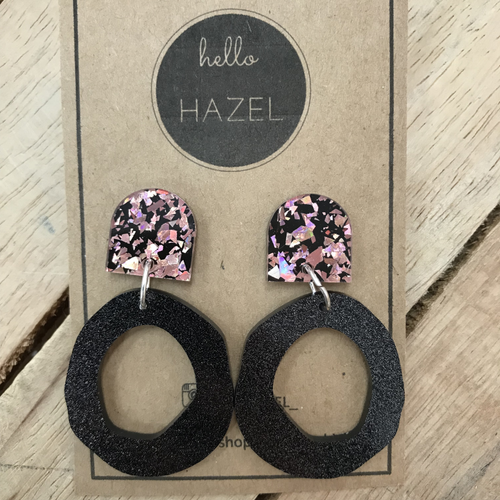 hello Hazel Earrings - 80's Pink Black Glitters