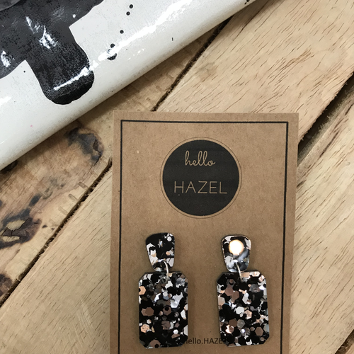 hello Hazel Earrings - Black Silver Glitters