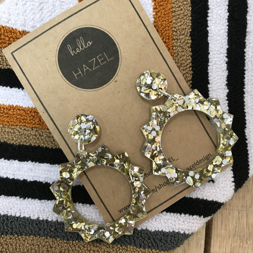 hello Hazel Earrings - Large Sun Gold Glitters
