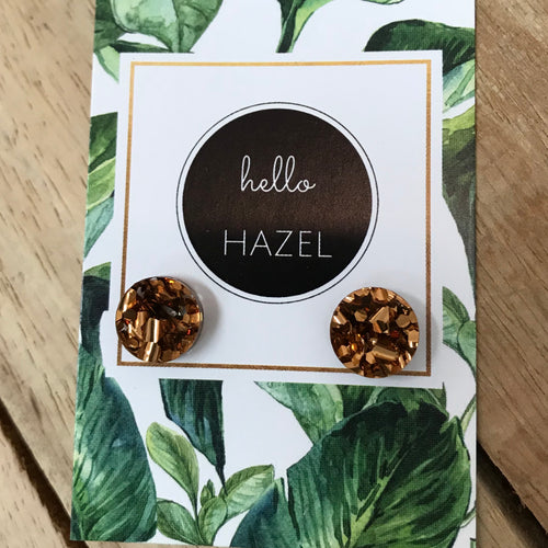 hello Hazel Earrings - Circle Bronze Glitters