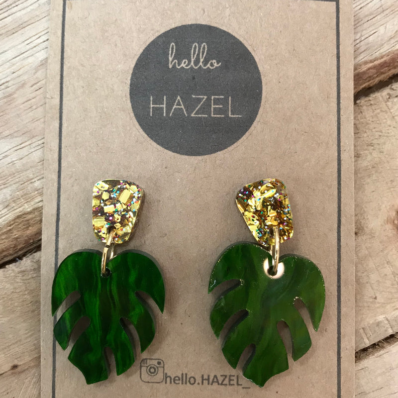 hello Hazel Earrings - Monstera Leaf