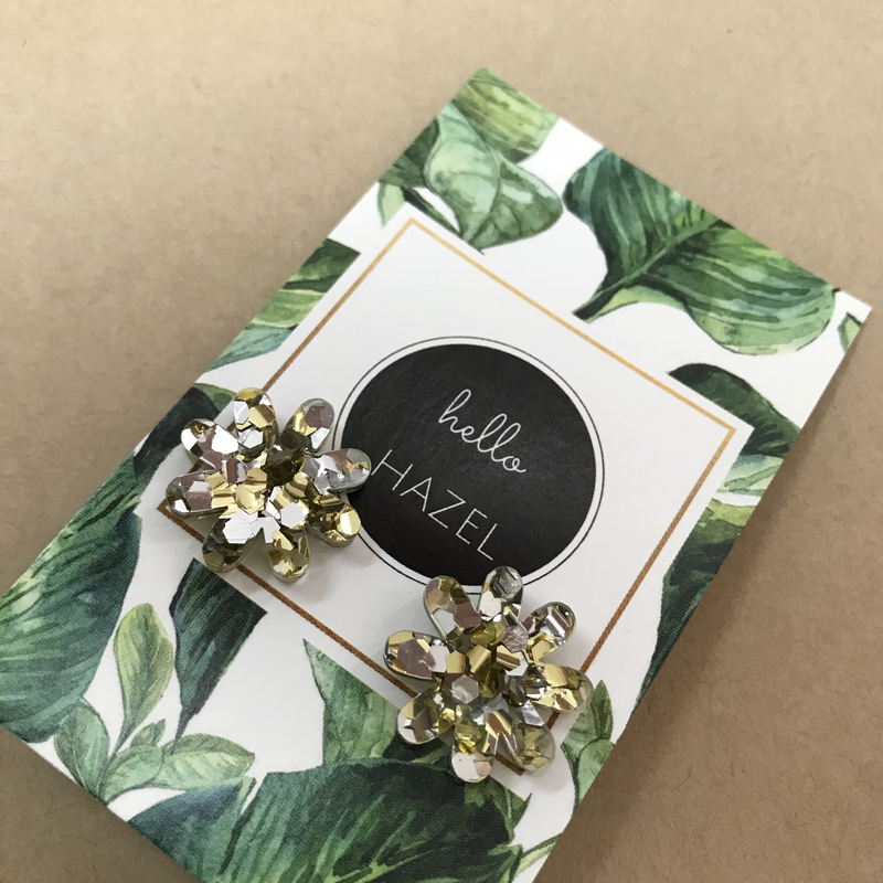 hello Hazel Earrings - Gold Silver Glitter Flowers Lge