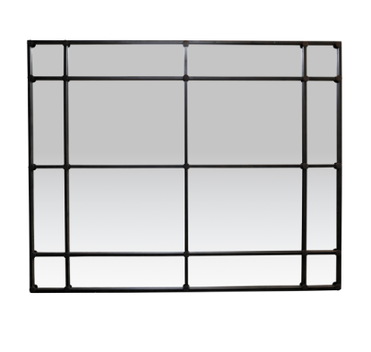 Large Rectangular 16 Pane Mirror Black