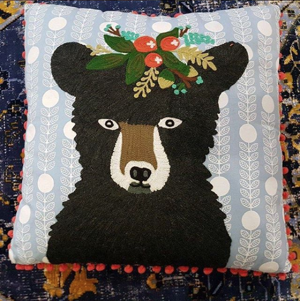 Bear with Garland Cushion